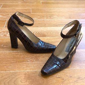 Cesare Paciotti Vintage Brown Crocodile Heels 36.5